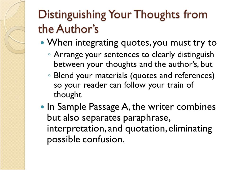 Distinguishing Your Thoughts from the Author's