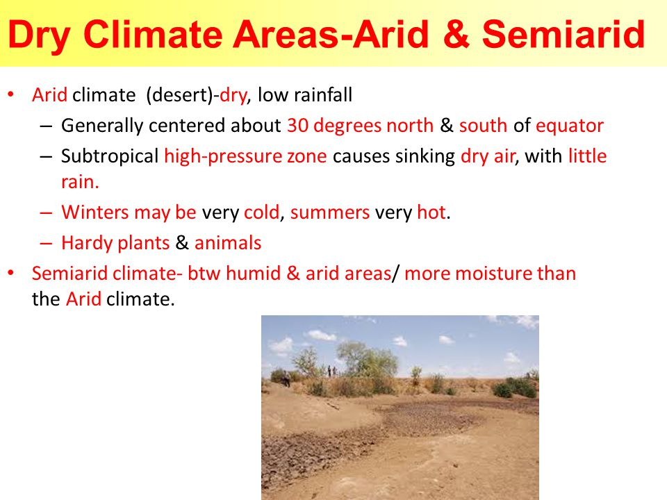 Dry Climate Areas-Arid & Semiarid