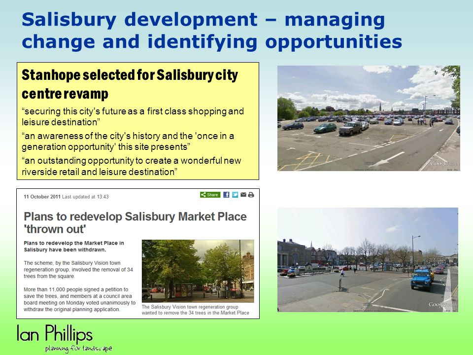 Salisbury development – managing change and identifying opportunities