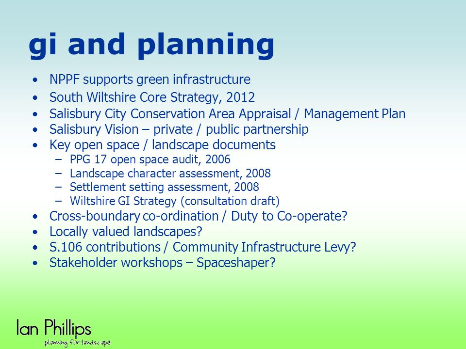 gi and planning NPPF supports green infrastructure