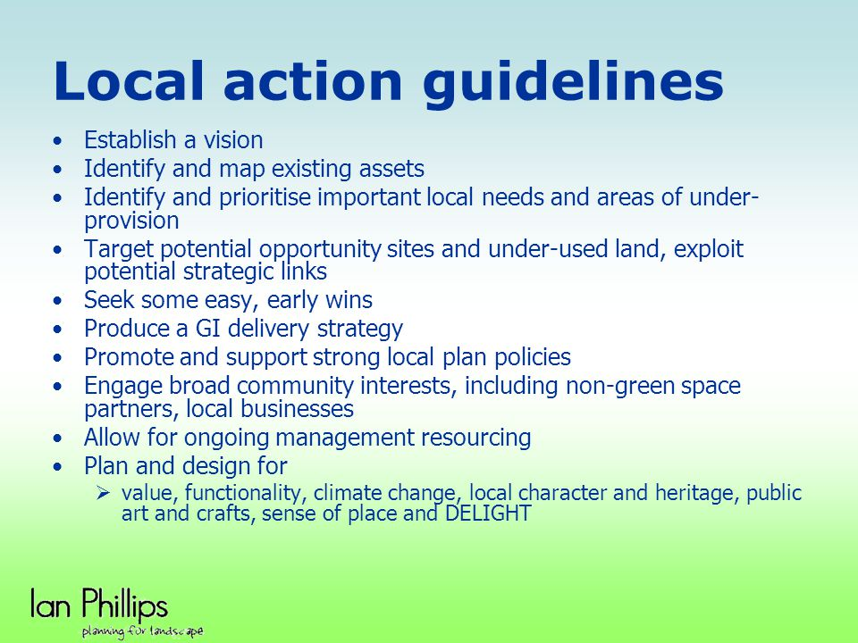 Local action guidelines