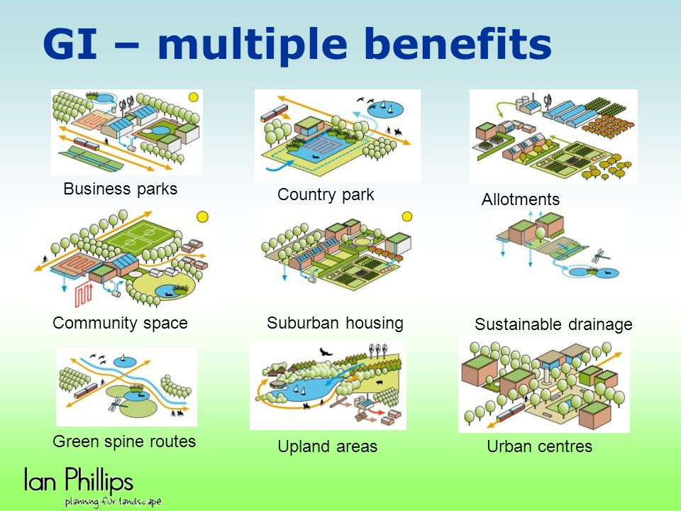GI – multiple benefits Business parks Country park Allotments