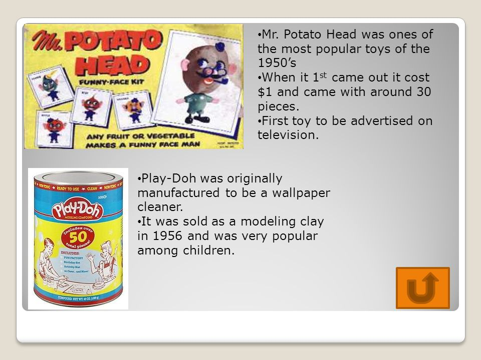 Mr. Potato Head was ones of the most popular toys of the 1950's