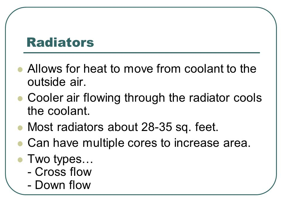 Radiators Allows for heat to move from coolant to the outside air.