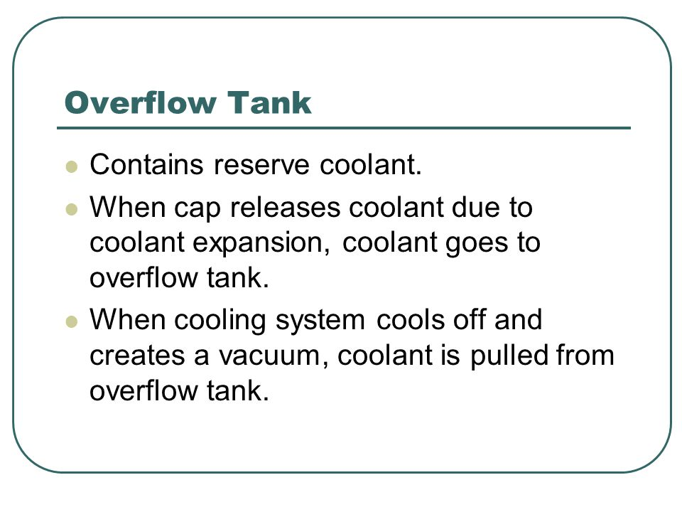 Overflow Tank Contains reserve coolant.