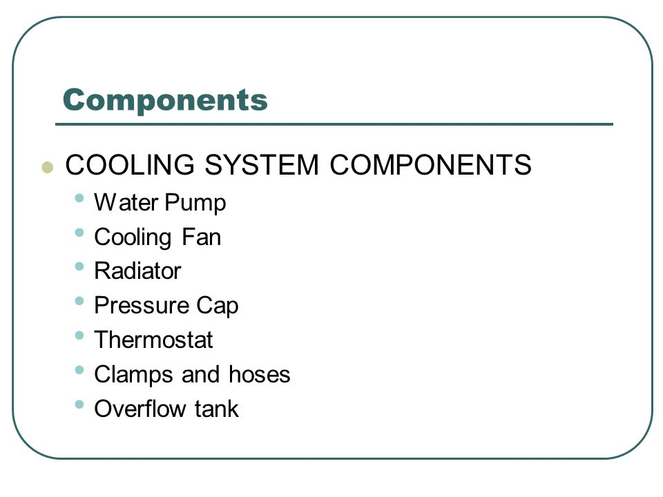 Components COOLING SYSTEM COMPONENTS Water Pump Cooling Fan Radiator