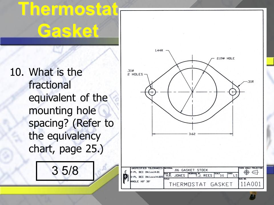 Thermostat Gasket What is the fractional equivalent of the mounting hole spacing (Refer to the equivalency chart, page 25.)