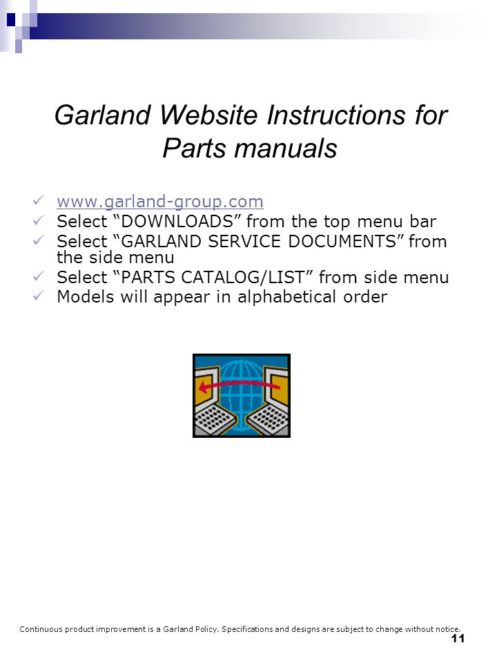 Garland Website Instructions for Parts manuals