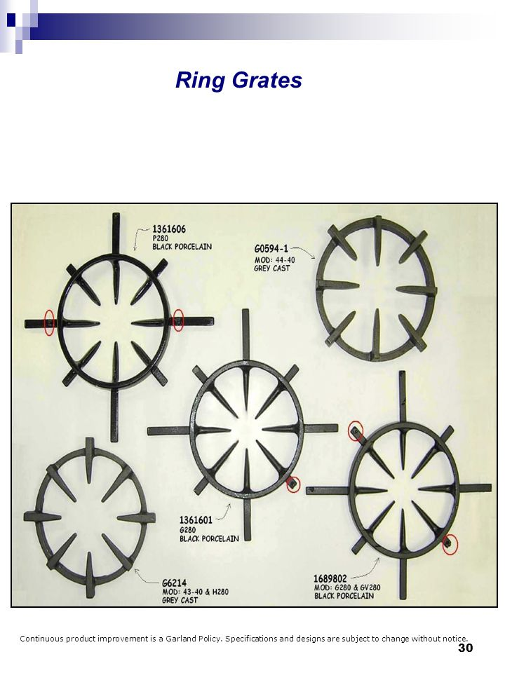 Ring Grates Continuous product improvement is a Garland Policy.