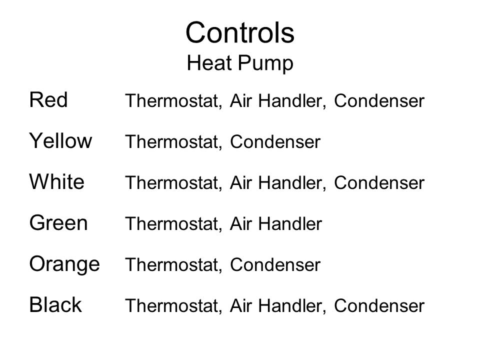 Controls Heat Pump Red Thermostat, Air Handler, Condenser