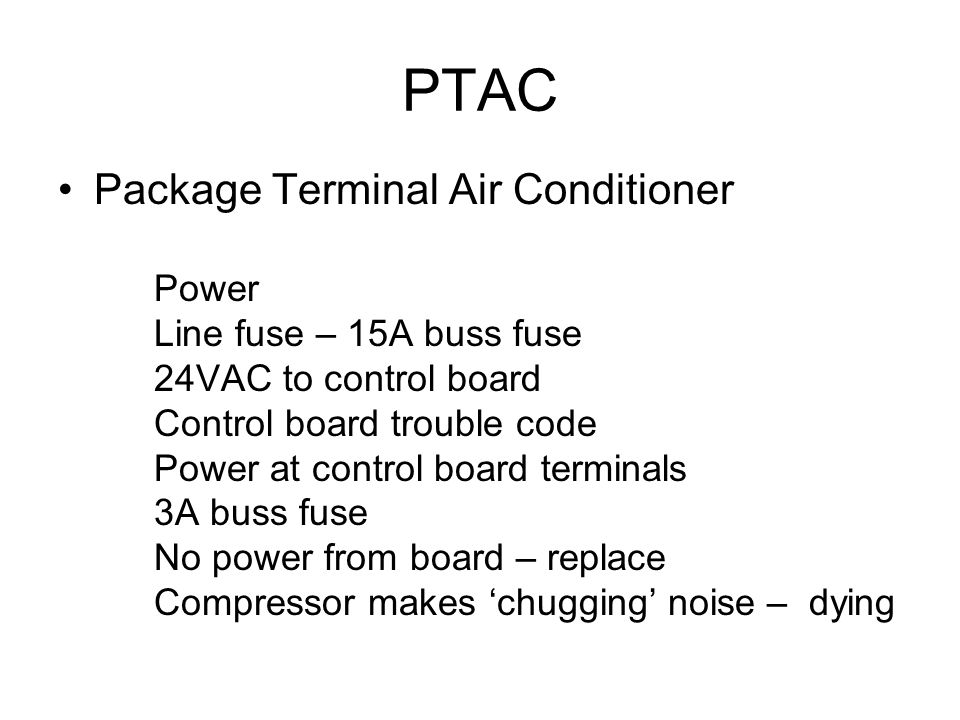 PTAC Package Terminal Air Conditioner Line fuse – 15A buss fuse