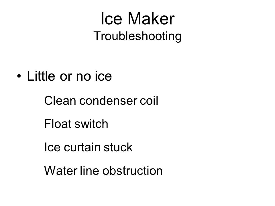 Ice Maker Troubleshooting