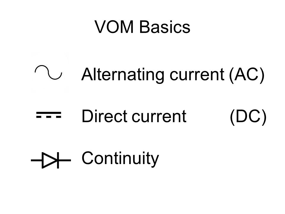 VOM Basics Alternating current (AC) Direct current (DC) Continuity