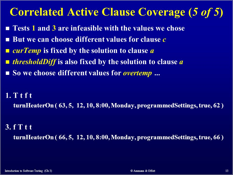 Correlated Active Clause Coverage (5 of 5)