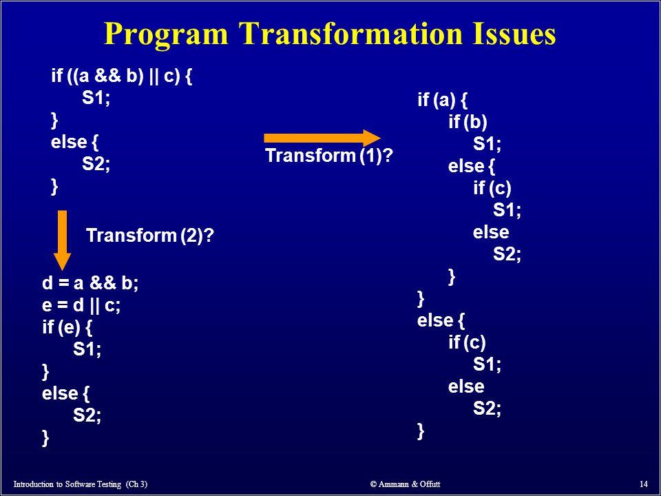 Program Transformation Issues