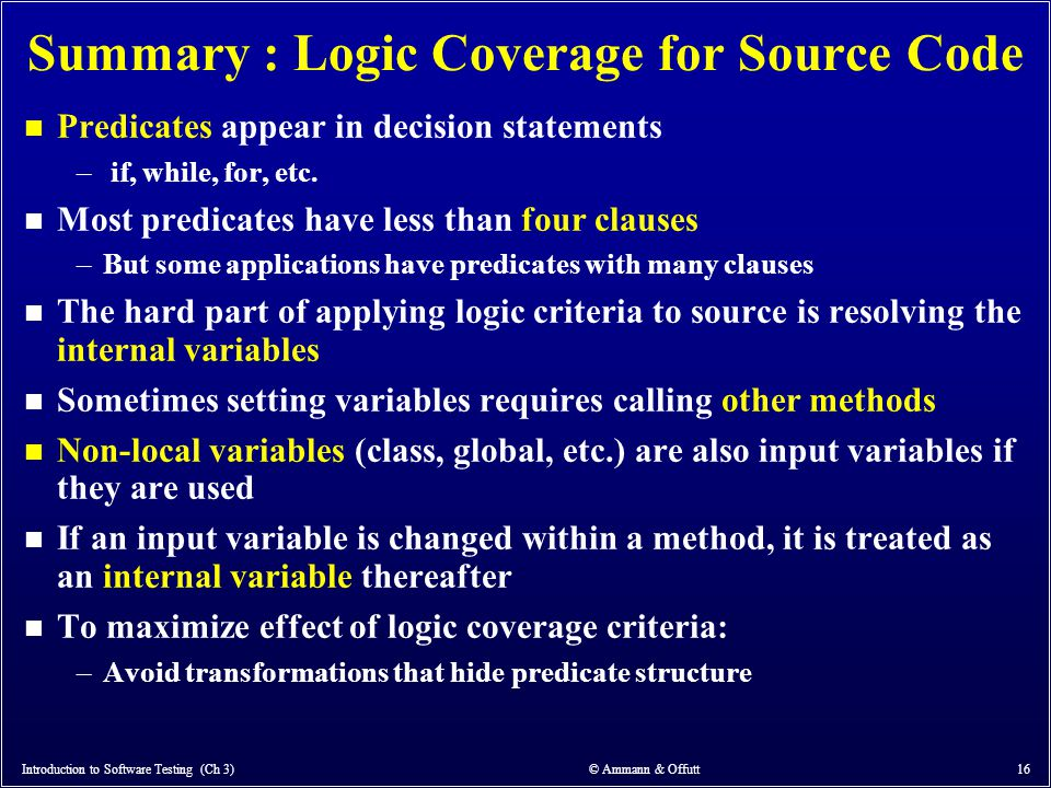 Summary : Logic Coverage for Source Code