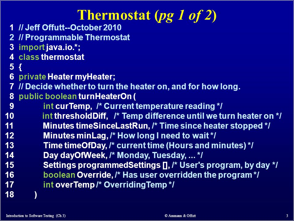 Thermostat (pg 1 of 2) 1 // Jeff Offutt--October 2010