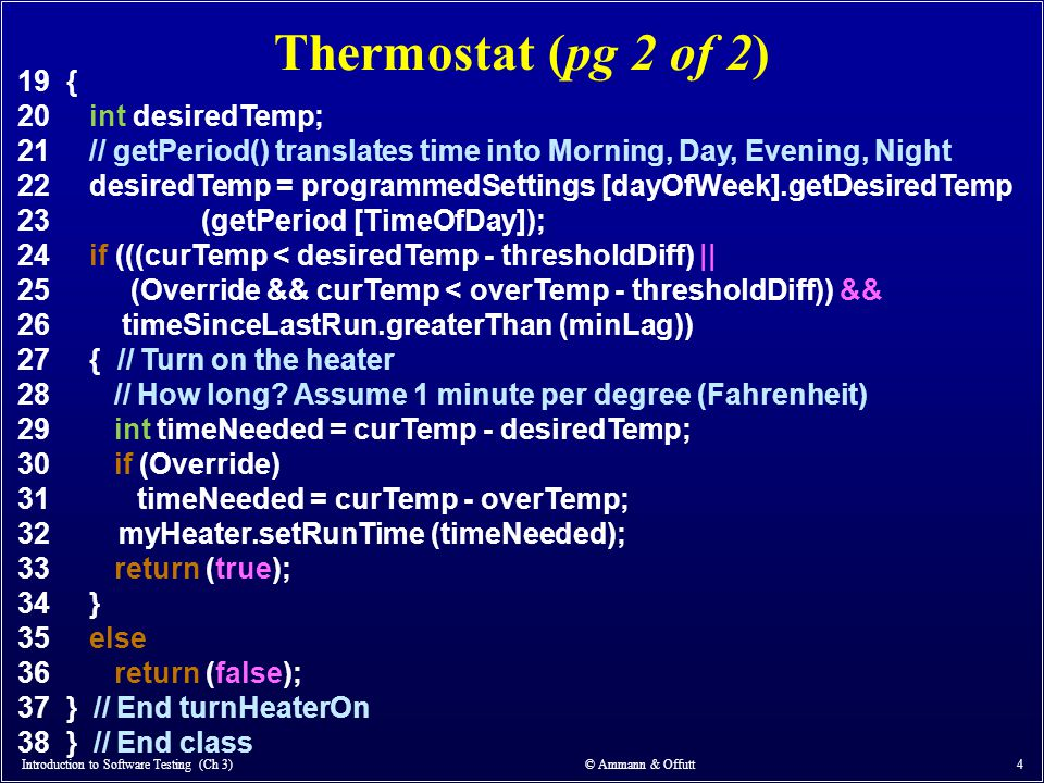 Thermostat (pg 2 of 2) 19 { 20 int desiredTemp;