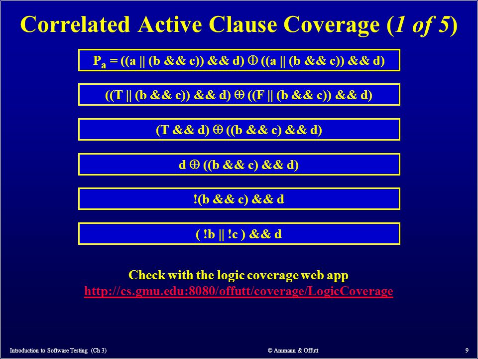 Correlated Active Clause Coverage (1 of 5)