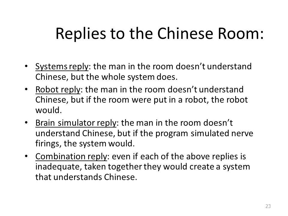 Replies to the Chinese Room: