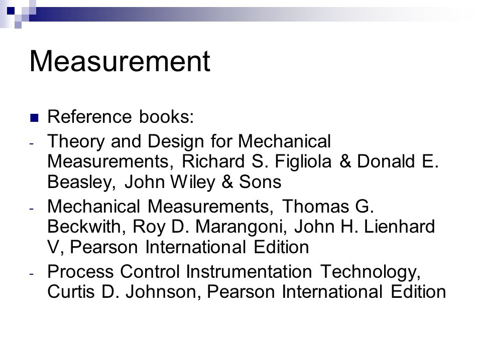 Measurement Reference books: