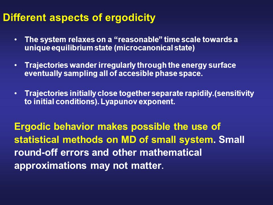 Different aspects of ergodicity