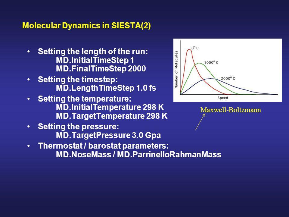 Molecular Dynamics in SIESTA(2)
