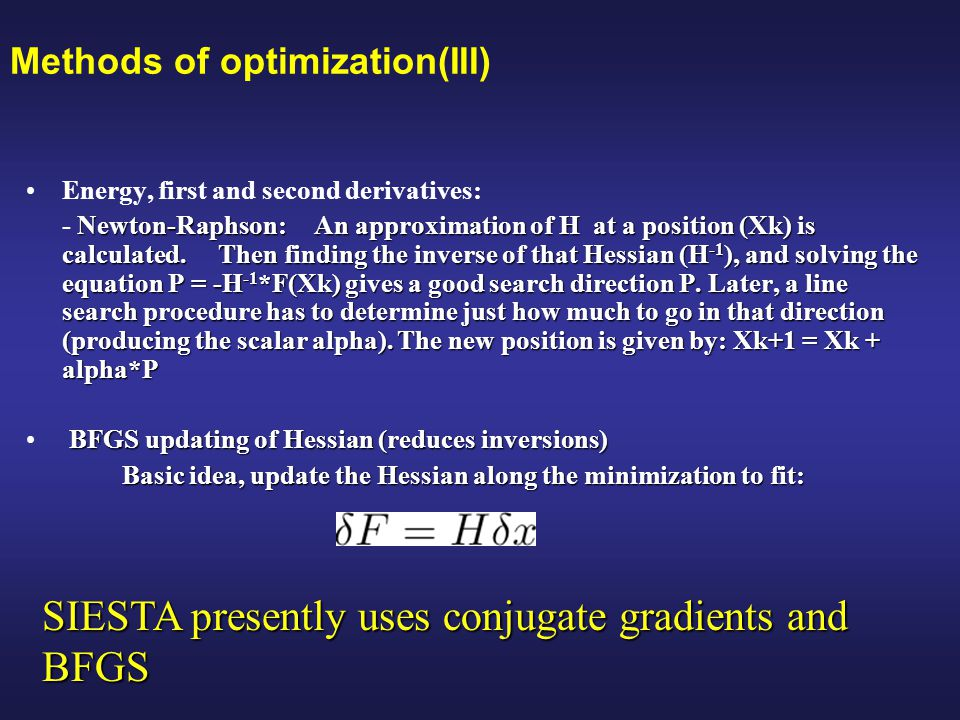 Methods of optimization(III)