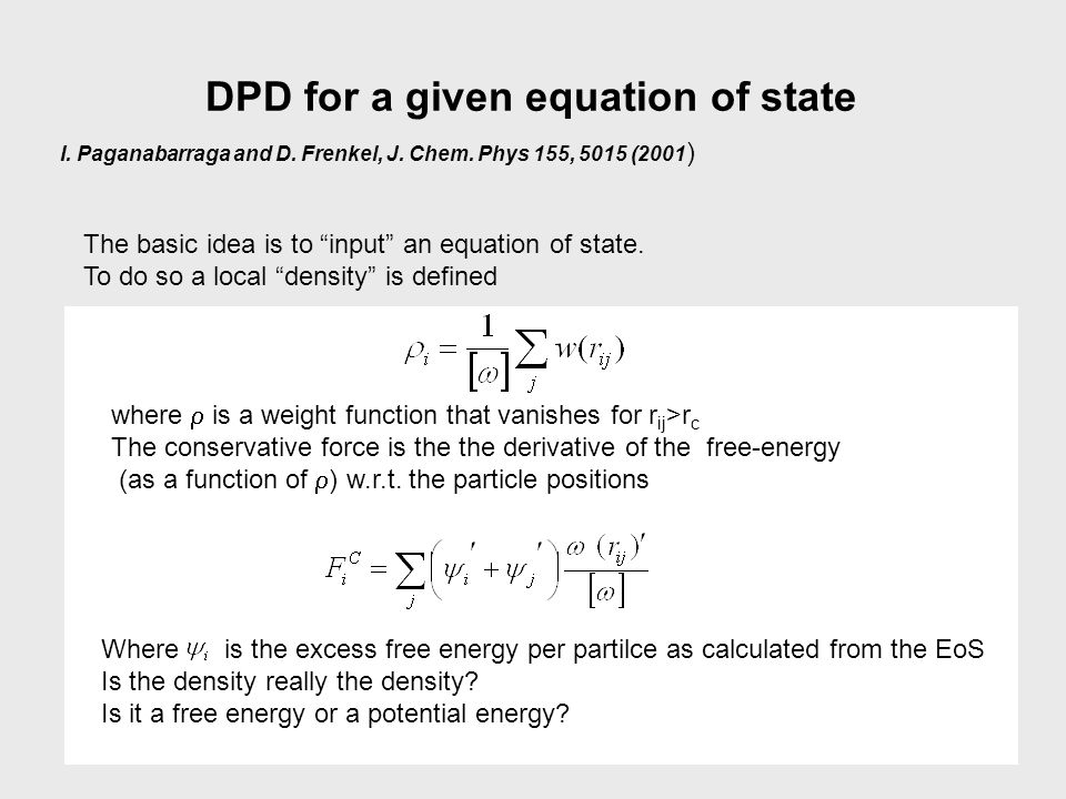 DPD for a given equation of state