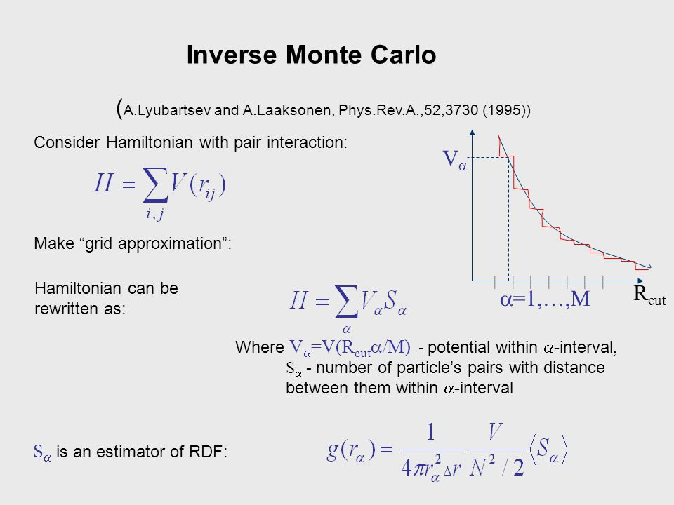 Inverse Monte Carlo (A.Lyubartsev and A.Laaksonen, Phys.Rev.A.,52,3730 (1995)) Consider Hamiltonian with pair interaction: