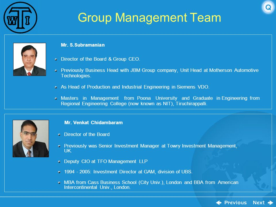 Group Management Team Director of the Board & Group CEO.