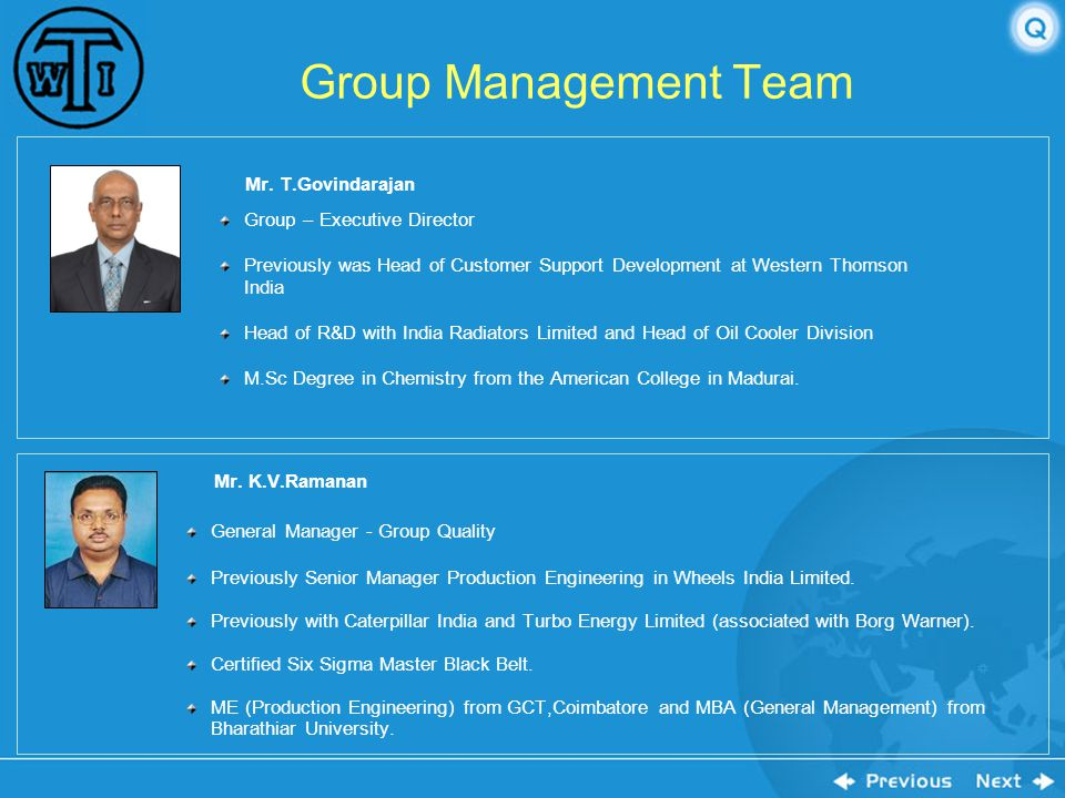 Group Management Team Mr. K.V.Ramanan Mr. T.Govindarajan