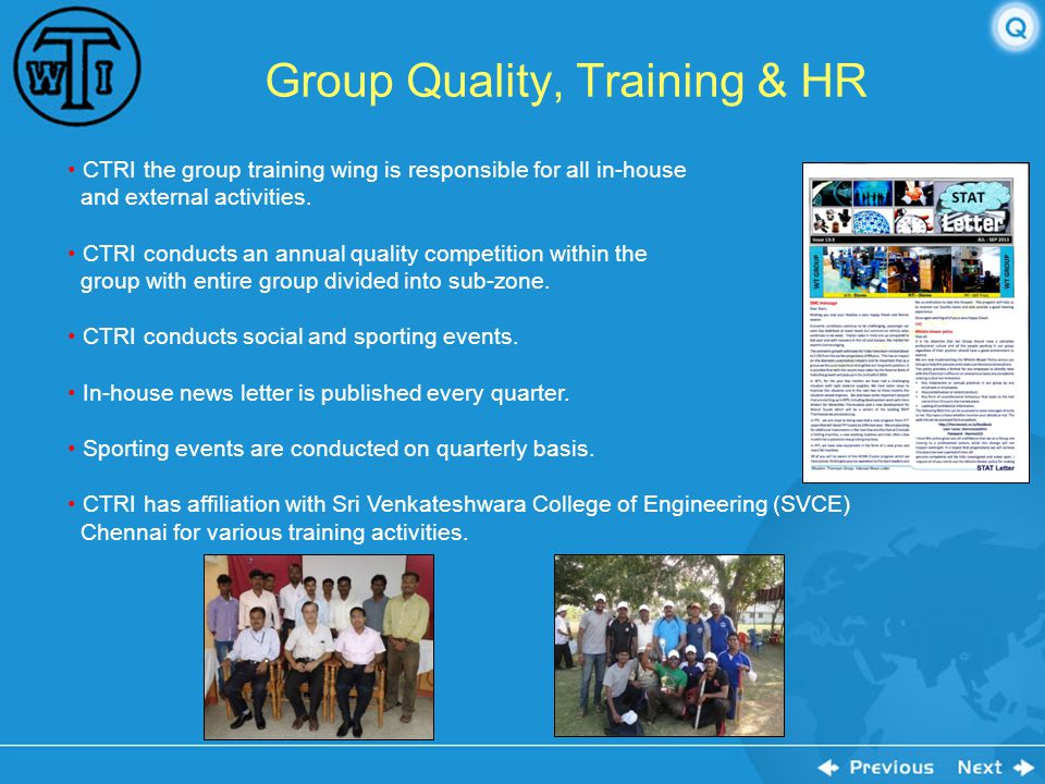 Group Quality, Training & HR
