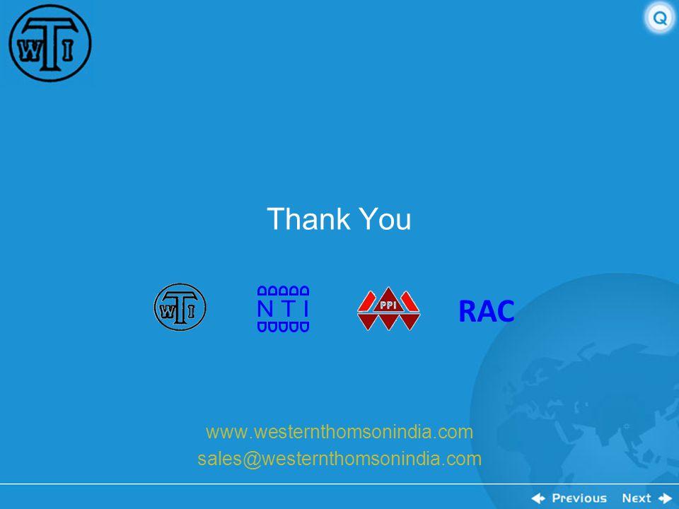 RAC N T I Thank You www.westernthomsonindia.com