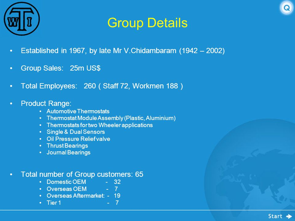 Group Details Established in 1967, by late Mr V.Chidambaram (1942 – 2002) Group Sales: 25m US$ Total Employees: 260 ( Staff 72, Workmen 188 )