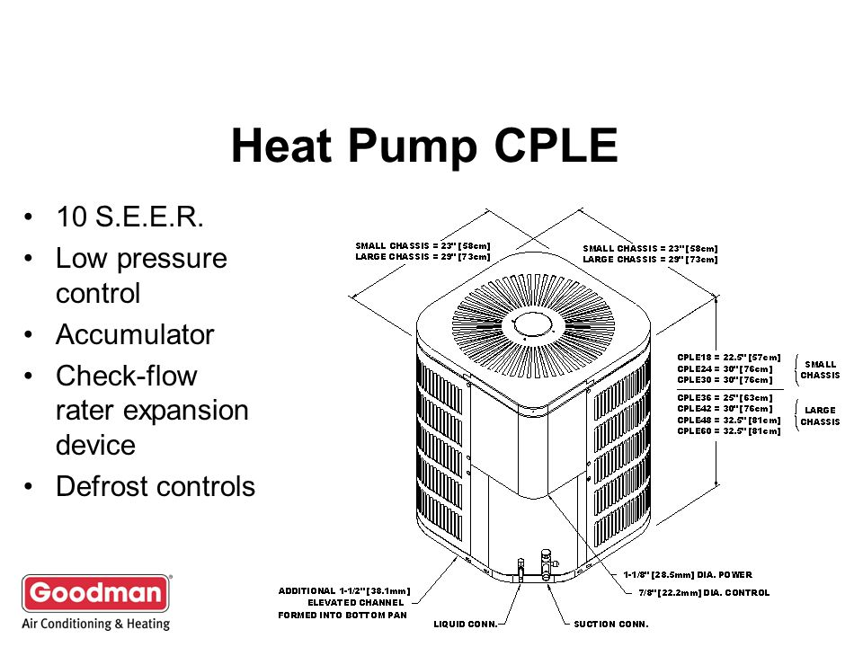 Heat Pump CPLE 10 S.E.E.R. Low pressure control Accumulator