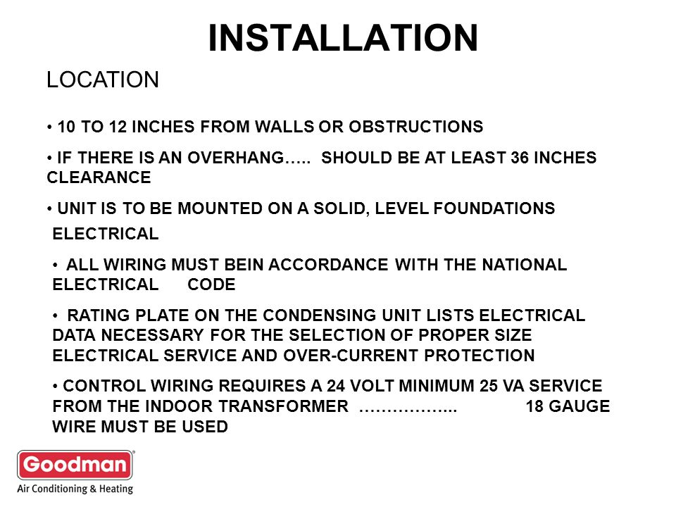 INSTALLATION LOCATION 10 TO 12 INCHES FROM WALLS OR OBSTRUCTIONS