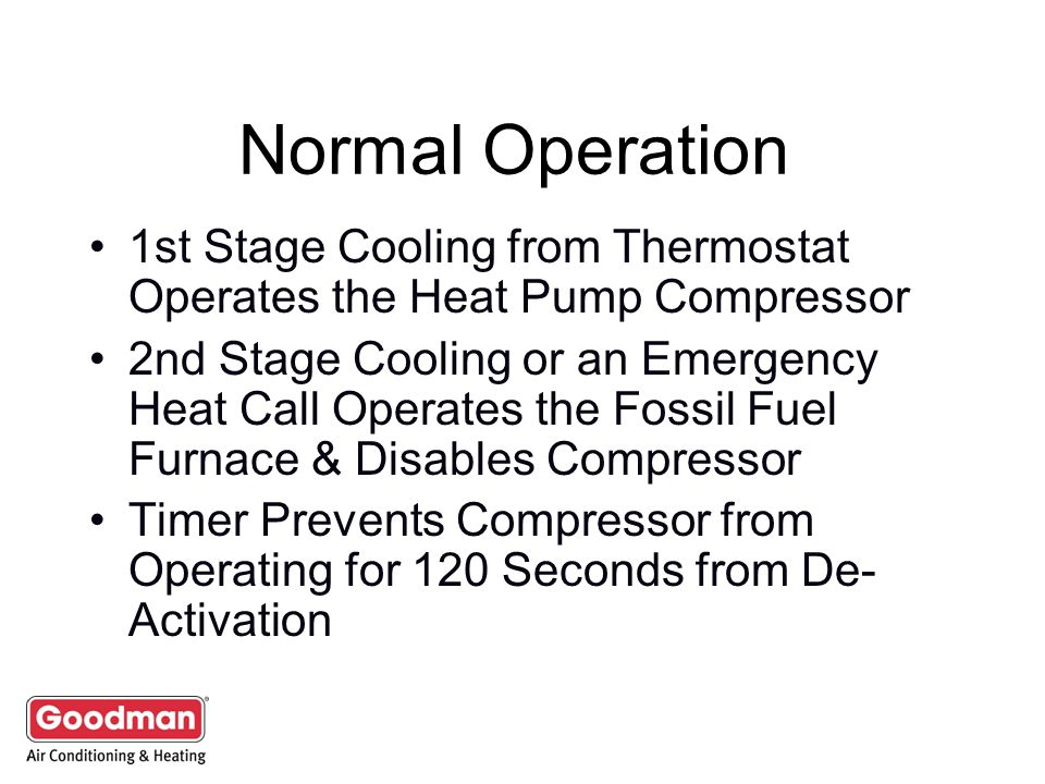 Normal Operation 1st Stage Cooling from Thermostat Operates the Heat Pump Compressor.