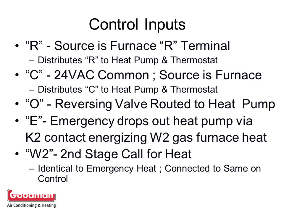 Control Inputs R - Source is Furnace R Terminal