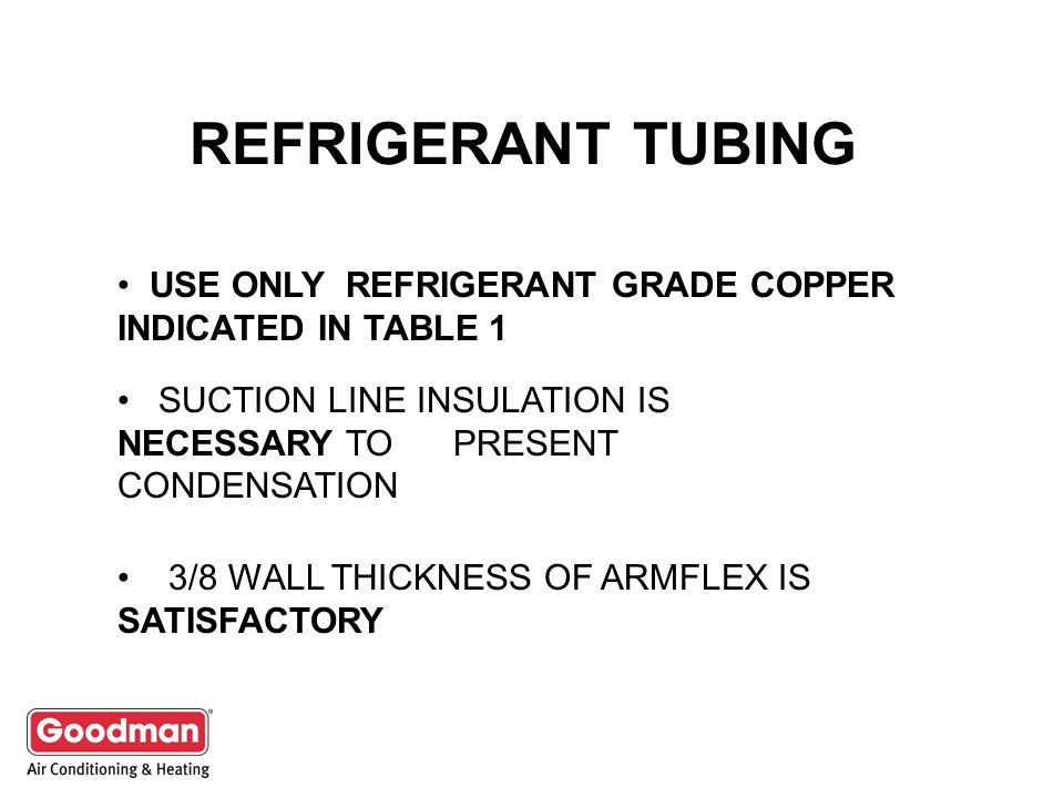 REFRIGERANT TUBING USE ONLY REFRIGERANT GRADE COPPER INDICATED IN TABLE 1. SUCTION LINE INSULATION IS NECESSARY TO PRESENT CONDENSATION.