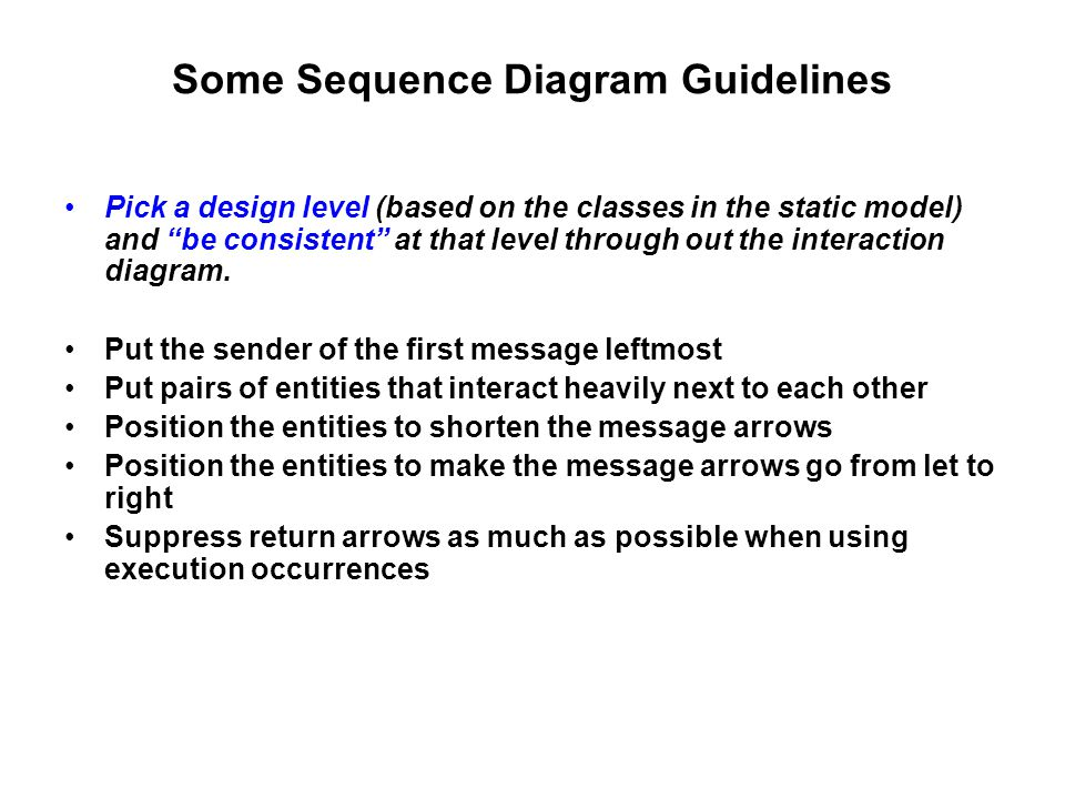 Some Sequence Diagram Guidelines