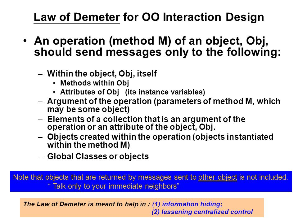 Law of Demeter for OO Interaction Design