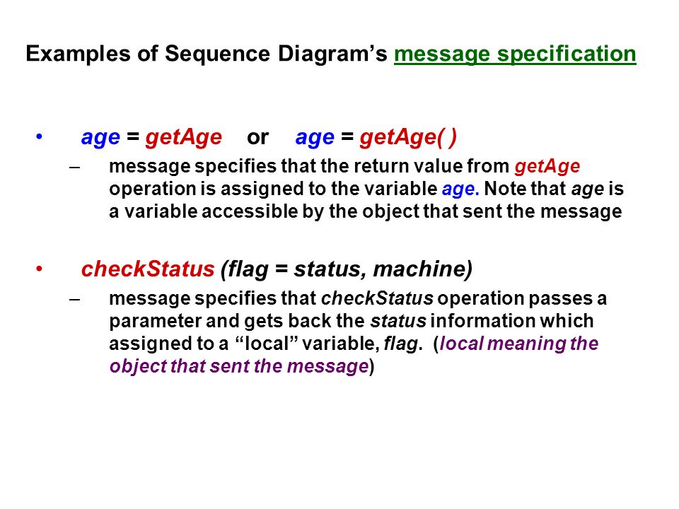 Examples of Sequence Diagram's message specification