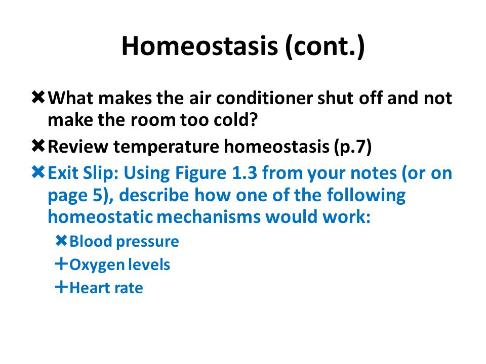 Homeostasis (cont.) What makes the air conditioner shut off and not make the room too cold Review temperature homeostasis (p.7)