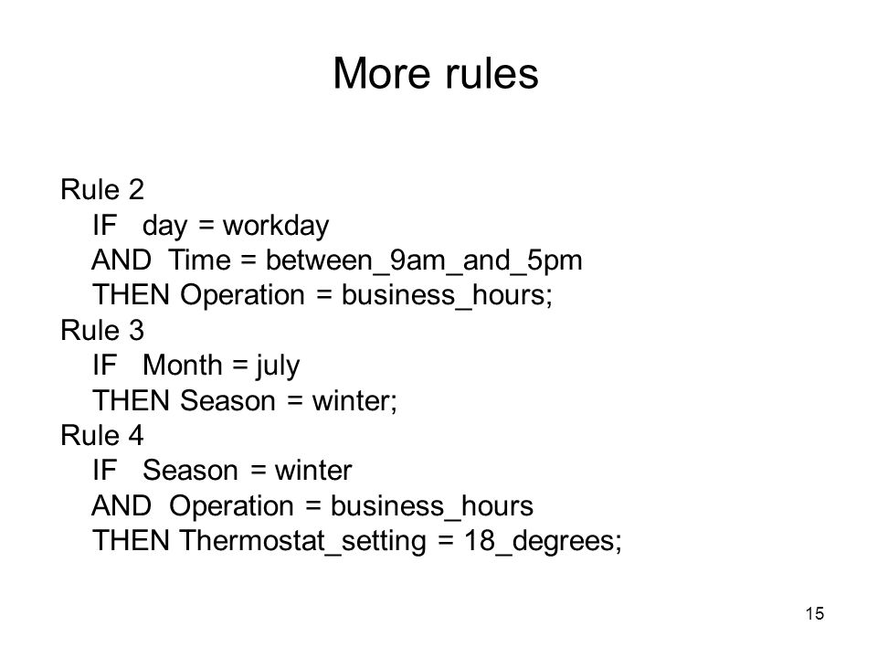 More rules Rule 2 IF day = workday AND Time = between_9am_and_5pm