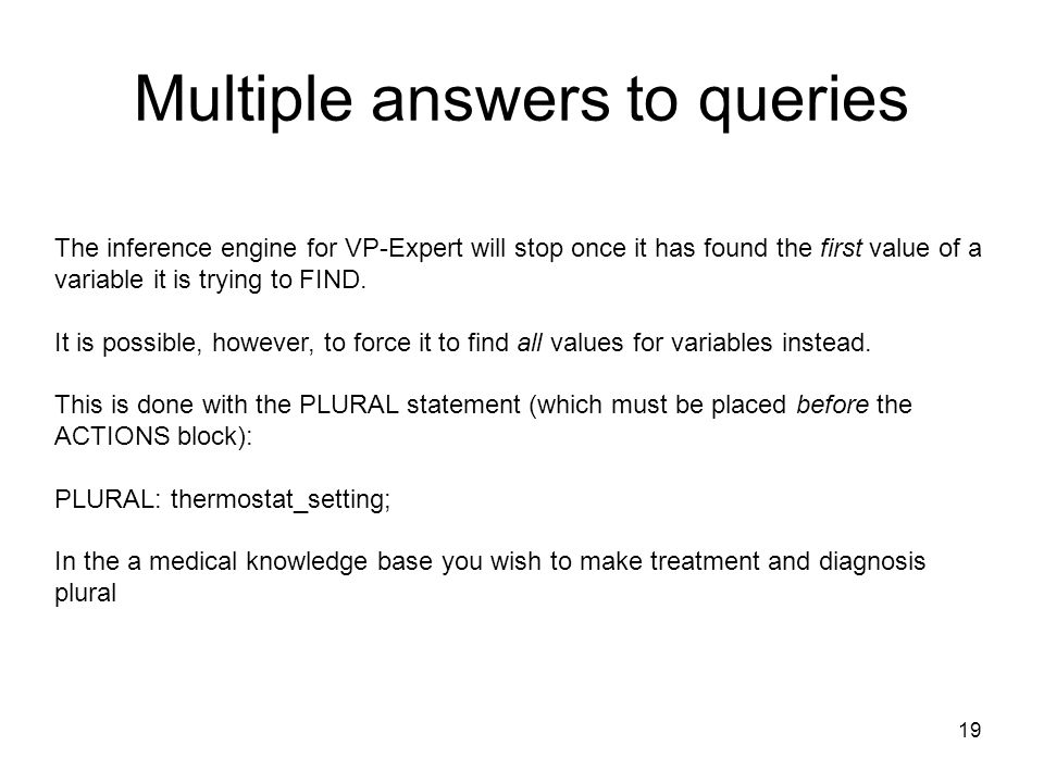 Multiple answers to queries