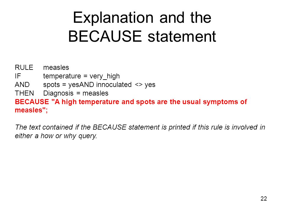 Explanation and the BECAUSE statement