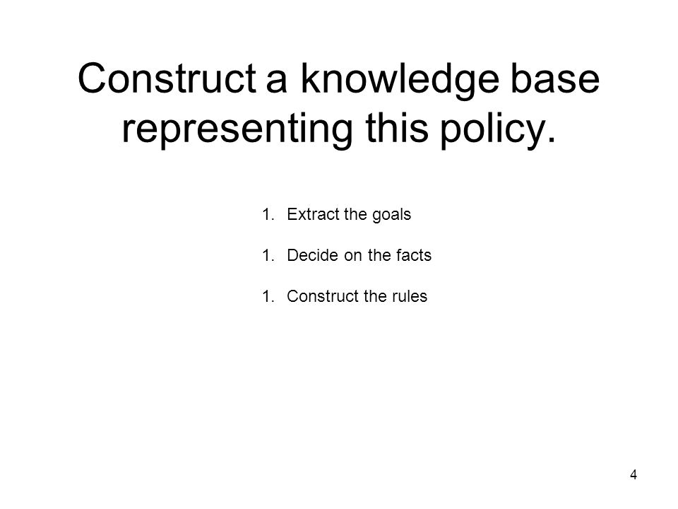 Construct a knowledge base representing this policy.