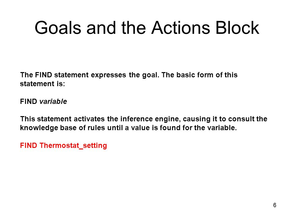 Goals and the Actions Block