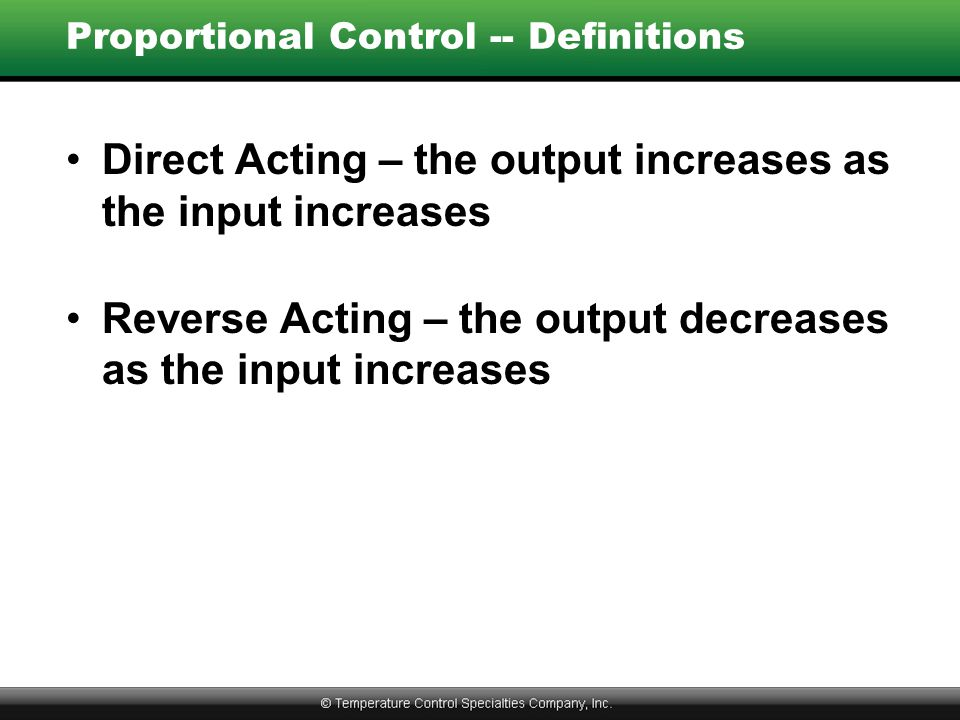 Proportional Control -- Definitions